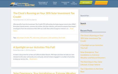 Screenshot of Blog californiasolarelectric.com - Blog   California Solar Electric - captured Dec. 6, 2015