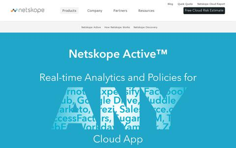 Screenshot of Products Page netskope.com - Enterprise Cloud Security Products, Software & Services - Netskope - captured July 20, 2014
