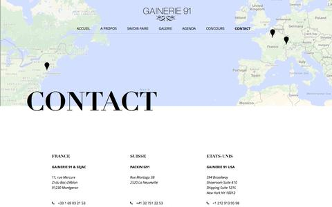 Screenshot of Contact Page gainerie91.com - Gainerie 91 - Contact - gainerie91.com - captured July 9, 2016