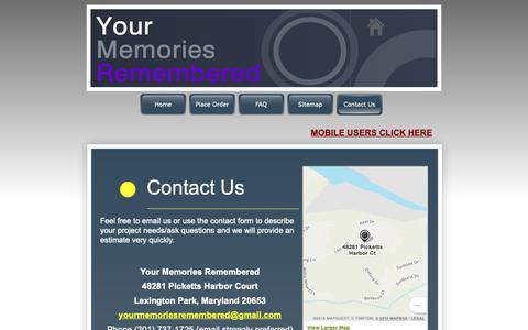 Screenshot of Contact Page yourmemoriesremembered.com - Contact Us - Your Memories Remembered - captured Oct. 20, 2018