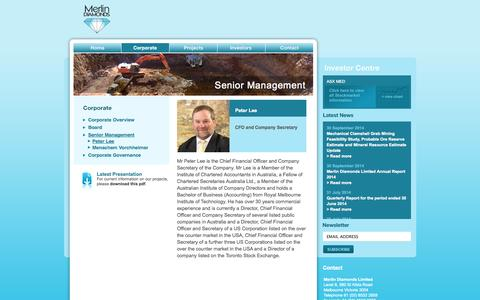 Screenshot of Team Page merlindiamonds.com.au - Merlin Diamonds Diamonds Limited   Senior Management - captured Oct. 26, 2014