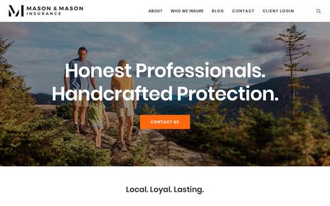 Screenshot of Home Page mmins.com - Mason & Mason Insurance | Committed To Local, Loyal, Lasting Service - captured Sept. 30, 2018