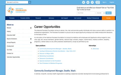 Screenshot of Jobs Page psoriasis.org - About us: Career opportunities - National Psoriasis Foundation - captured Nov. 4, 2014