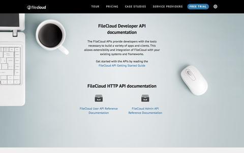 Screenshot of Developers Page getfilecloud.com - FileCloud Developer API Documentation - captured Feb. 20, 2016