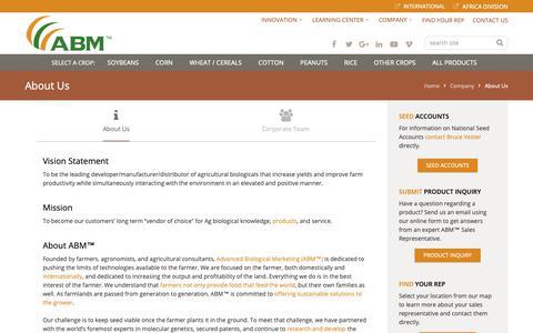 Screenshot of About Page abm1st.com - About Us - Advanced Biological Marketing, Agricultural Biologicals - captured Oct. 3, 2018