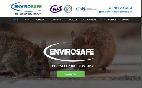 Screenshot of Home Page envirosafepestcontrol.co.uk - Pest Extermination Services | Envirosafe Pest Control Ltd - captured July 20, 2018