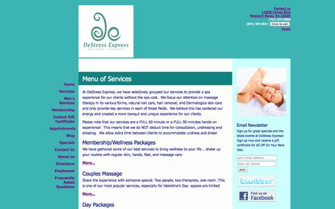 Screenshot of Services Page Menu Page destressexpress.com - DeStress Express - Menu of Services - captured Oct. 23, 2014