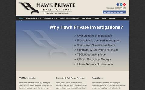 Screenshot of Home Page hawkpi.com - Atlanta Private Investigator – Hawk Private InvestigationsHome - Atlanta Private Investigator - Hawk Private Investigations | Surveillance and investigation services throughout Georgia - captured Oct. 2, 2014