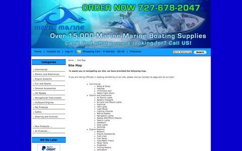 Screenshot of Site Map Page mavikmarine.com - Site Map : Mavik Marine, 15,000 plus Marine Parts and accessories - captured Nov. 3, 2014