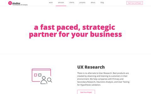 Screenshot of Services Page f1studioz.com - F1 Studioz - UX Design Agency in Hyderabad and Bangalore| UI Design India - captured Oct. 23, 2018