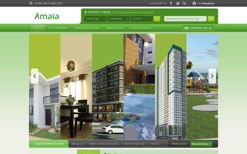 Screenshot of Home Page amaialand.com - Amaia Land - Real Estate in the Philippines - captured Sept. 19, 2014