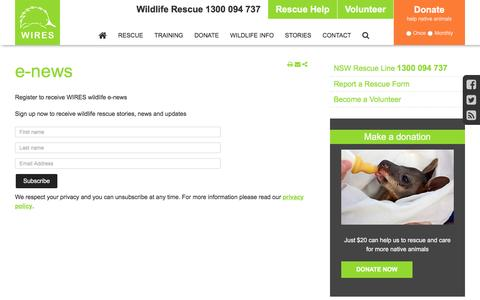 Screenshot of Signup Page wires.org.au - Sign up for our free newsletter to get wildlife rescue stories - captured Feb. 24, 2016