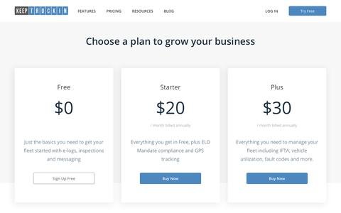 Screenshot of Pricing Page keeptruckin.com - Pricing - captured July 27, 2018