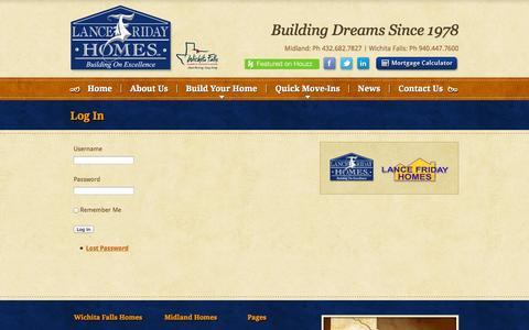 Screenshot of Login Page lancefridayhomes.com - New Home Builder, Home Construction |   Log In - captured Sept. 30, 2014