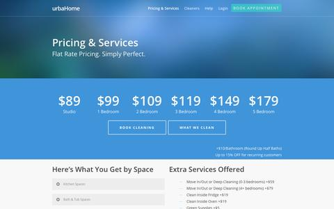 Screenshot of Pricing Page urbahome.com - Chicago IL House Cleaning Service - Pricing and Services - urbaHome - captured Sept. 30, 2014