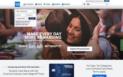 Screenshot of Home Page americanexpress.com - American Express Credit Cards, Rewards, Travel and Business Services - captured July 3, 2018