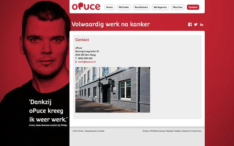 Screenshot of Contact Page opuce.nl - Contact - oPuce - captured Oct. 7, 2014