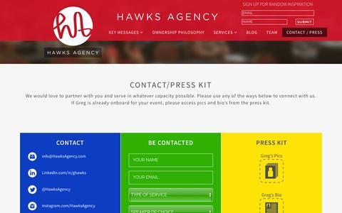 Screenshot of Press Page hawksagency.com - Contact | Hawks Agency - captured Dec. 8, 2015