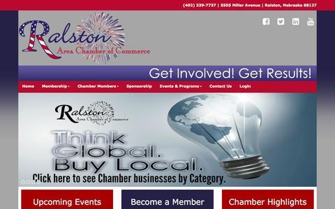 Screenshot of Home Page ralstonareachamber.org - Ralston Area Chamber of Commerce, Ralston Nebraska - captured Feb. 17, 2016