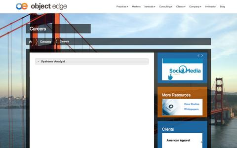 Screenshot of Jobs Page objectedge.com - Careers   Object Edge - captured Oct. 7, 2014