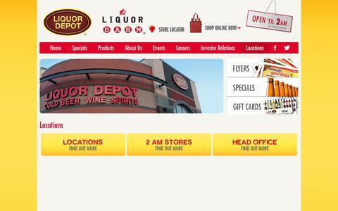 Screenshot of Locations Page liquorstoresgp.ca - Liquor Stores N.A. Ltd  > Locations - captured Oct. 2, 2014