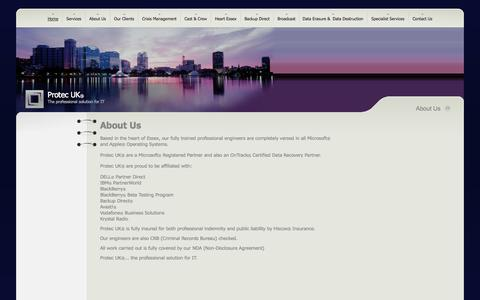Screenshot of About Page protecuk.com - Protec  UK - About Us - captured Sept. 30, 2014