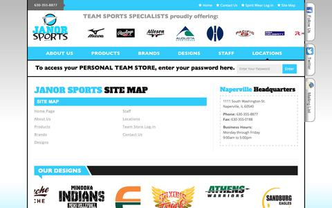 Screenshot of Site Map Page janorsports.com - Janor Sports - Team Sports Specialists - captured Sept. 20, 2018