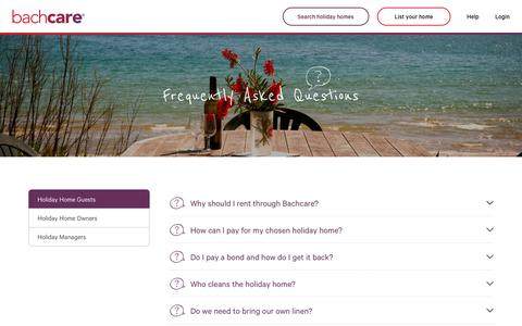 Screenshot of FAQ Page bachcare.co.nz - Bachcare - baches & accommodation New Zealand, holiday home management - FAQ's - Holiday Home Guests - captured Oct. 9, 2017