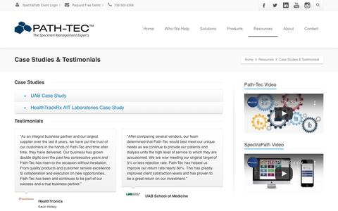 Screenshot of Case Studies Page path-tec.com - Case Studies & Testimonials - captured Feb. 1, 2020