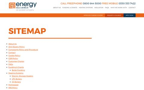 Screenshot of Site Map Page energy-alliance.co.uk - Energy AllianceSitemap - Energy Alliance - captured May 19, 2017