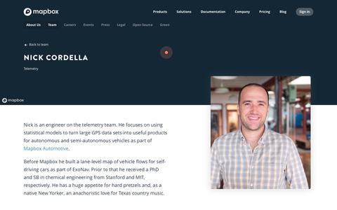 Screenshot of Team Page mapbox.com - Nick Cordella   Mapbox - captured Feb. 19, 2019