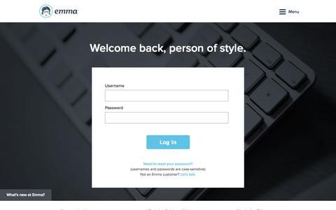 Screenshot of Login Page myemma.com - Login   Emma, Inc. - captured Sept. 18, 2014
