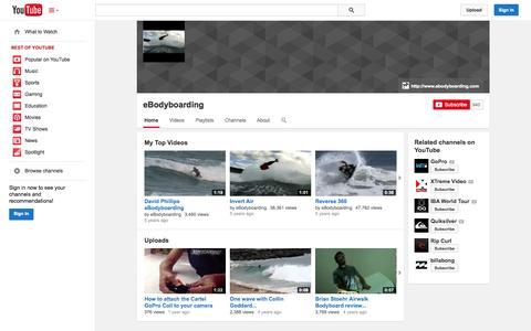 Screenshot of YouTube Page youtube.com - eBodyboarding  - YouTube - captured Oct. 23, 2014