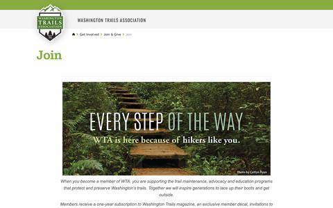 Screenshot of Signup Page wta.org - Join — Washington Trails Association - captured Dec. 5, 2018