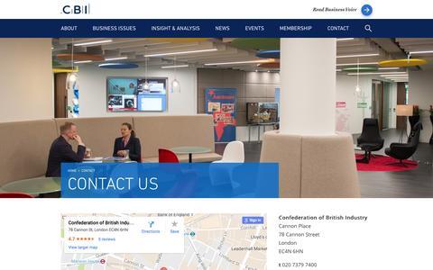 Screenshot of Contact Page cbi.org.uk - Contact us - CBI - captured Oct. 3, 2016