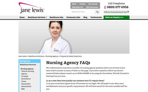 Screenshot of FAQ Page janelewis.co.uk - Nursing agency questions answered by Jane Lewis - captured Sept. 24, 2016