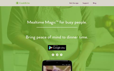 Screenshot of Home Page cookbrite.com - Mealtime Magic for Busy People | CookBrite App cookbrite.com | Mealtime Magic for busy people. - captured Feb. 25, 2016
