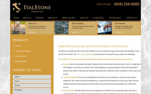Screenshot of Products Page italstonecanada.com - Products | Countertops in Vancouver and Surrey - captured Oct. 8, 2014