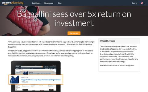 Screenshot of Case Studies Page amazon.com - Baggallini sees over 5x return on investment - Amazon Advertising - captured June 29, 2018
