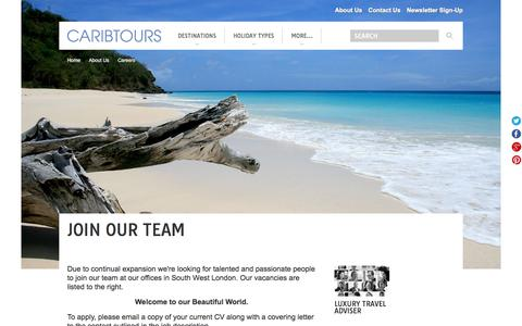 Screenshot of Jobs Page caribtours.co.uk - Join our team | Caribtours - captured July 16, 2018