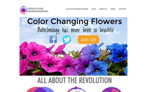Screenshot of Home Page revolutionbio.co - Color changing flowers from RevBio - captured Sept. 4, 2015