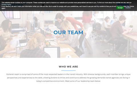 Screenshot of Team Page ecolane.com - Our Team | Ecolane - captured Sept. 16, 2018