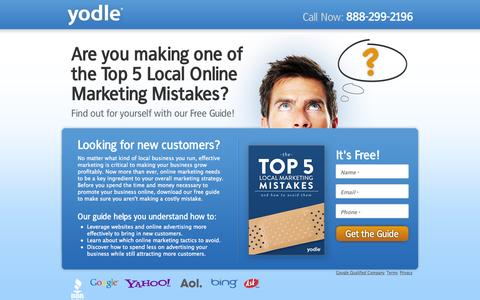 Screenshot of Landing Page yodle.com - Free Guide: Top 5 Online Marketing Mistakes by Yodle - captured Oct. 27, 2014