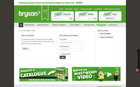 Screenshot of Login Page bryson.co.uk - Login | Bryson - captured Oct. 29, 2014
