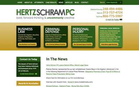 Screenshot of Press Page hertzschram.com - In the News - Law Firm Hertz Schram PC Attorneys Bloomfield Hills, Michigan - captured Oct. 3, 2014