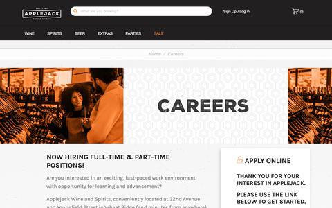 Screenshot of Jobs Page applejack.com - Careers - captured Nov. 12, 2018
