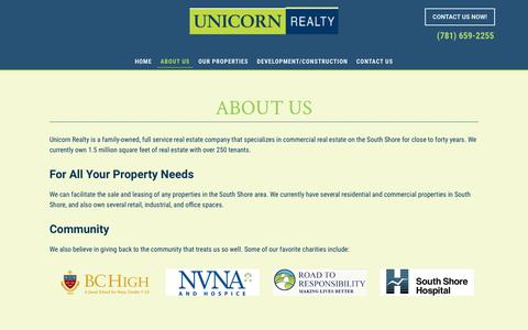 Screenshot of About Page unicornrealty.com - About Our Commercial & Residential Real Estate Office, Norwell, MA | Unicorn Realty - captured Oct. 20, 2018