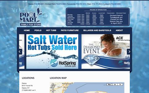 Screenshot of About Page Locations Page poolmartonline.com - Pool Mart Locations|Western, NY - captured Oct. 22, 2014