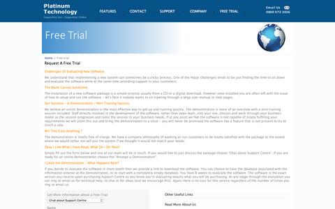 Screenshot of Trial Page platinum-technology.co.uk - IT Help Desk Software - captured March 10, 2016