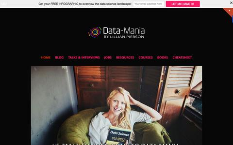 Screenshot of Home Page data-mania.com - Data-Mania by Lillian Pierson | Bringing data literacy to the masses - captured Oct. 1, 2015